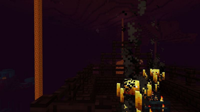 The Nether Fortresses in Minecraft seem to spawn over lava oceans quite frequently (Image via Minecraft)