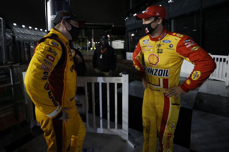 Michael McDowell and Joey Logano after the Daytona 500. Photo/Getty Images