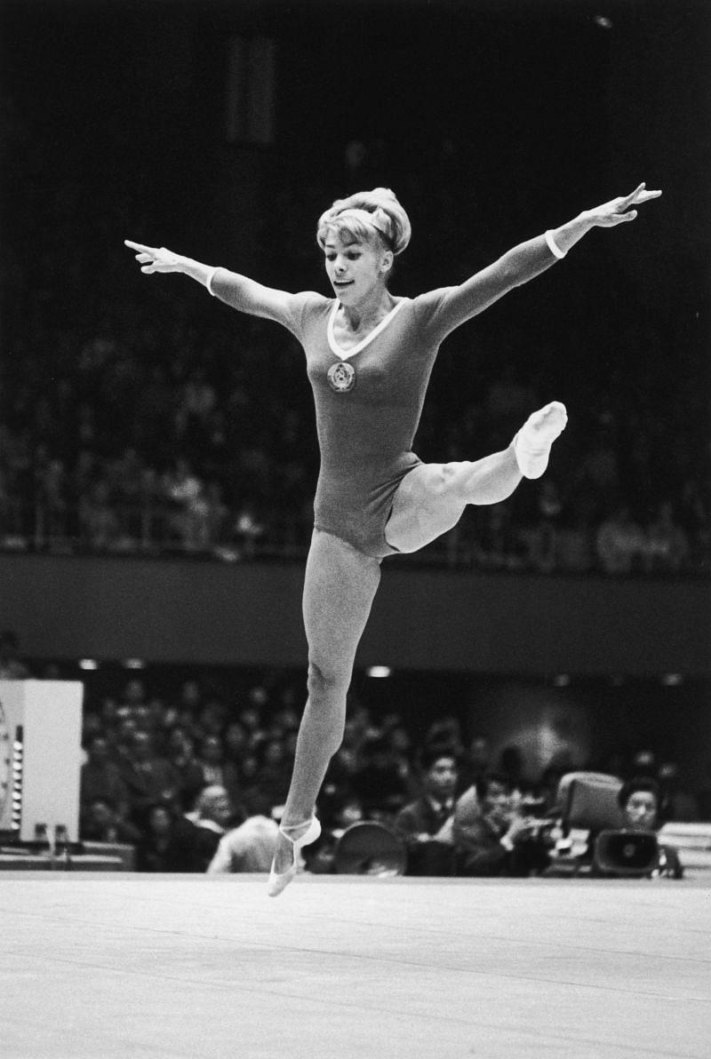 Soviet gymnast Larissa Latynina in action during the women
