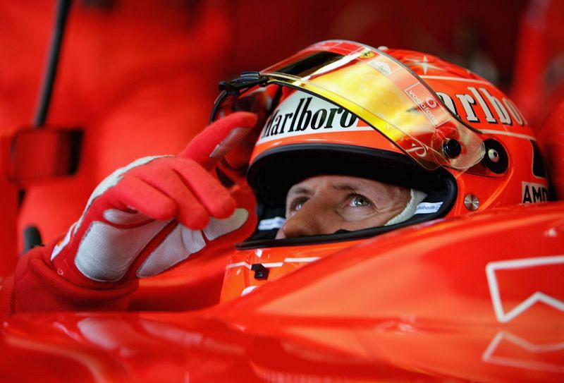 Michael Schumacher in his cockpit during qualifying for the Brazilian F1 Grand Prix, 2005: Getty Images