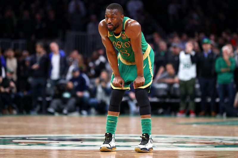 Kemba Walker #8 of the Boston Celtics looks on during the game against the LA Clippers