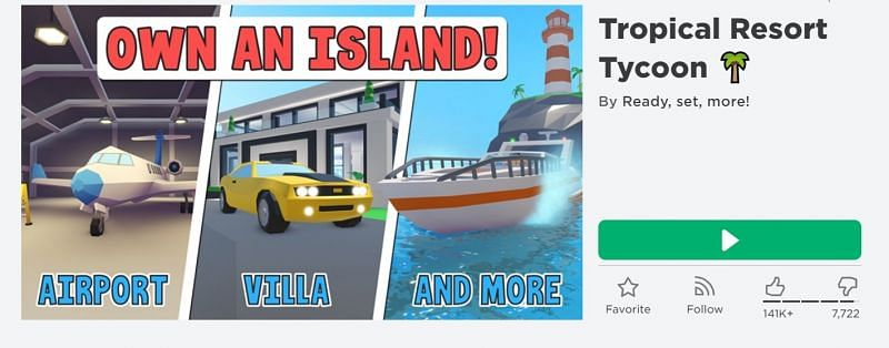 The Tropical Resort Tycoon game on Roblox. (Image via Roblox)