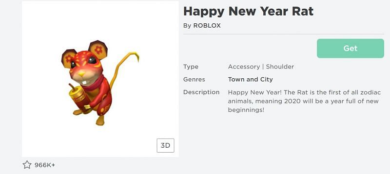 The Happy New Year Rat shoulder accessory on the Roblox Avatar Shop (Image via Roblox.com)