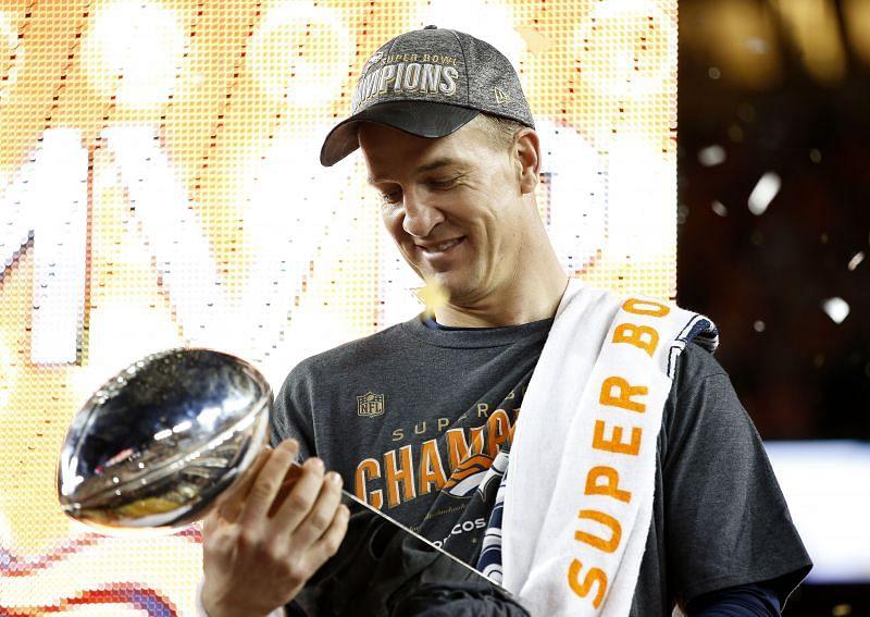 Peyton Manning celebrates his second Super Bowl Championship