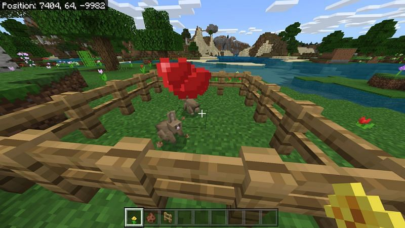 Rabbit farm in Minecraft