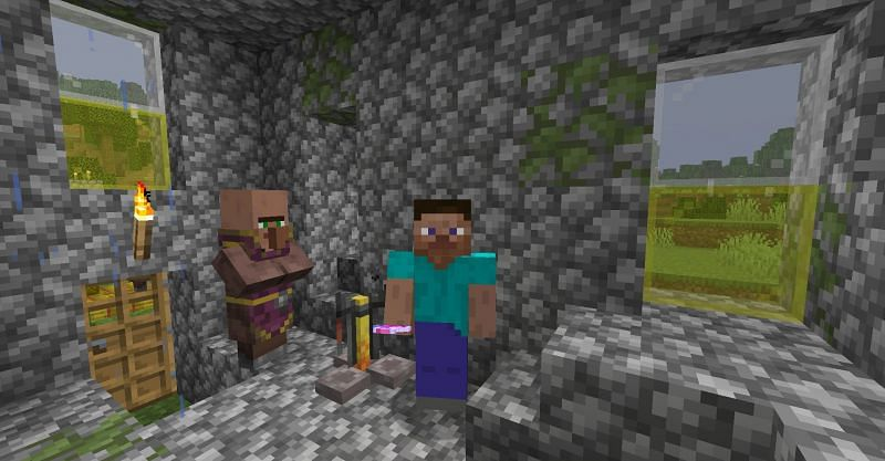 Steve next to a Cleric villager and brewing stand in Minecraft. (Image via Minecraft)