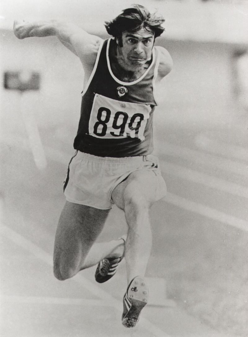 Viktor Saneyev of USSR takes a leap during the triple jump final at the Montreal Olympics, in which he won the gold medal.