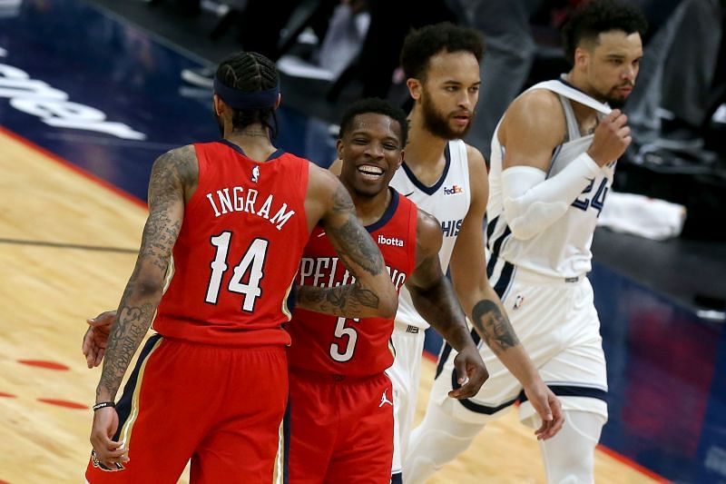 Eric Bledsoe of the New Orleans Pelicans congratulates Brandon Ingram of the New Orleans Pelicans after scoring on a three-pointer against the Memphis Grizzlies. (Photo by Sean Gardner/Getty Images)