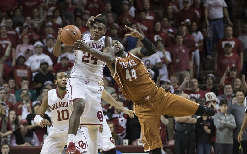 The Oklahoma Sooners intercept the pass down court meant the Texas Longhorns.