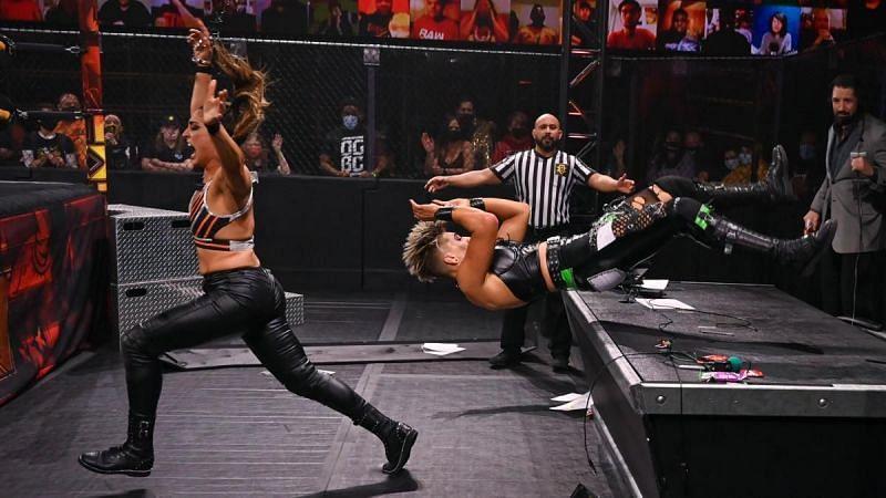 Rhea Ripley and Raquel Gonzalez during their WWE NXT New Year
