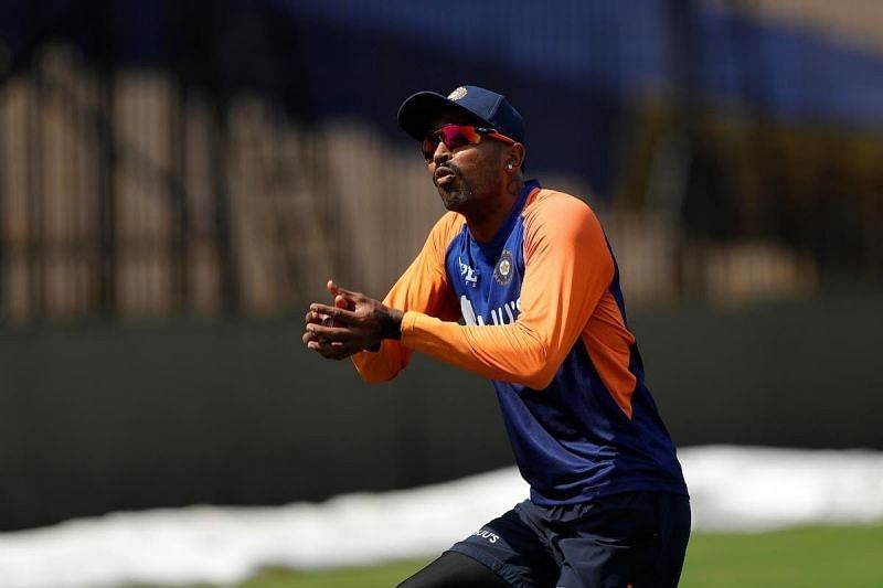 Hardik Pandya during practice (Pic: Hardik Pandya/Twitter)