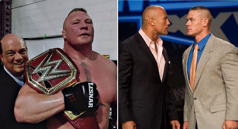Brock Lesnar; The Rock and John Cena