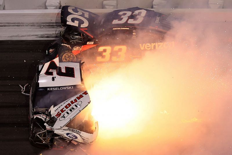 Teammates Brad Keselowski and Austin Cindrick crash in the Daytona 500. Photo/Getty Images