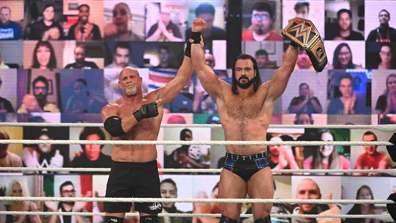 Goldberg and Drew McIntyre at Royal Rumble 2021