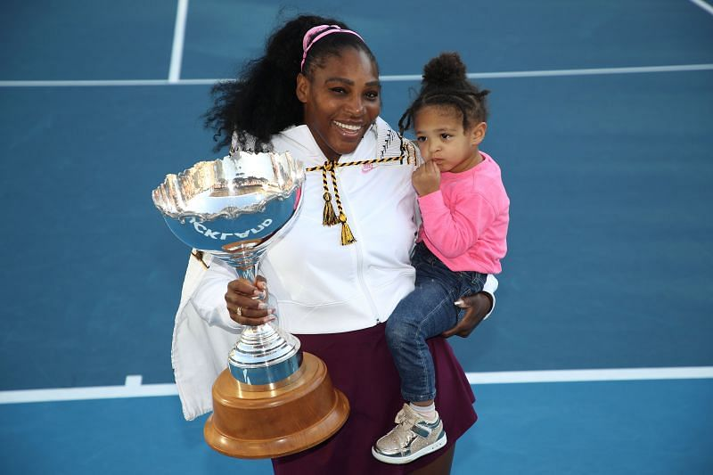 Serena Williams with her daughter Alexis Olympia at the 2020 Women