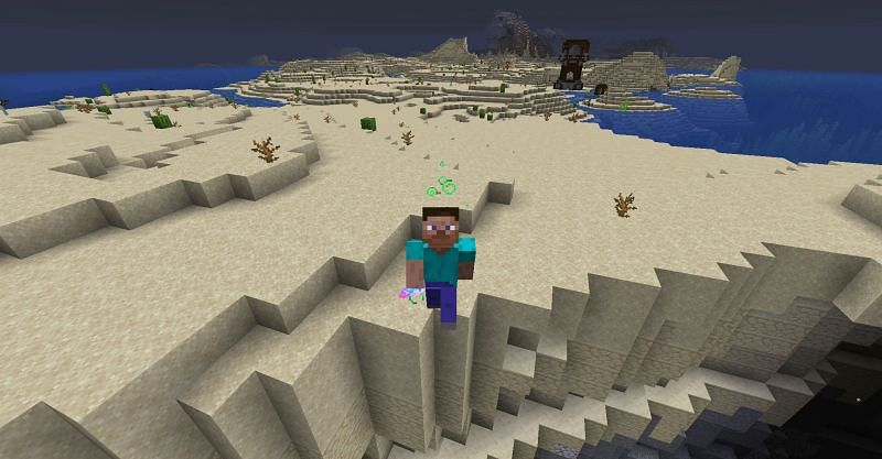 Steve jumping after drinking a Potion of Leaping II in Minecraft. (Image via Minecraft)