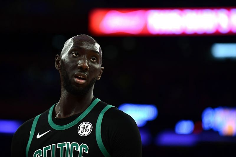 Tacko Fall of the Boston Celtics looks on during the second half of their game against the New York Knicks at Madison Square Garden on October 26, 2019, in New York City. (Photo by Emilee Chinn/Getty Images)