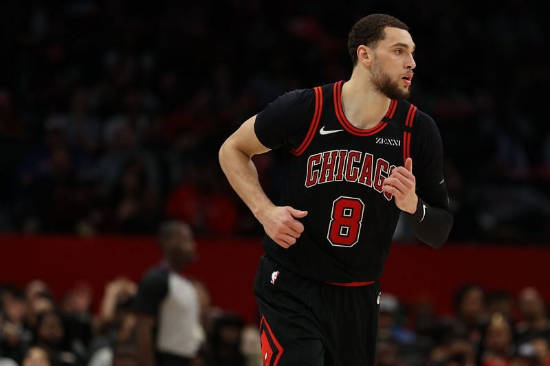 NBA DFS Option Zach LaVine #8 of the Chicago Bulls