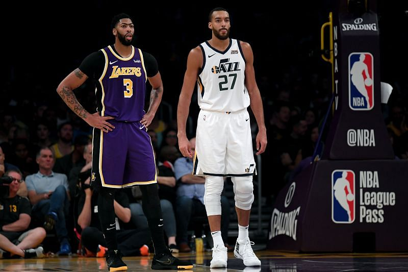 Rudy Gobert #27 of the Utah Jazz and Anthony Davis #3 of the LA Lakers.