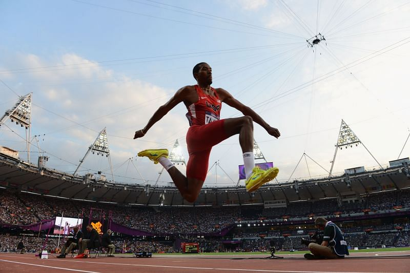 Christian Taylor of the United States competes during the Men