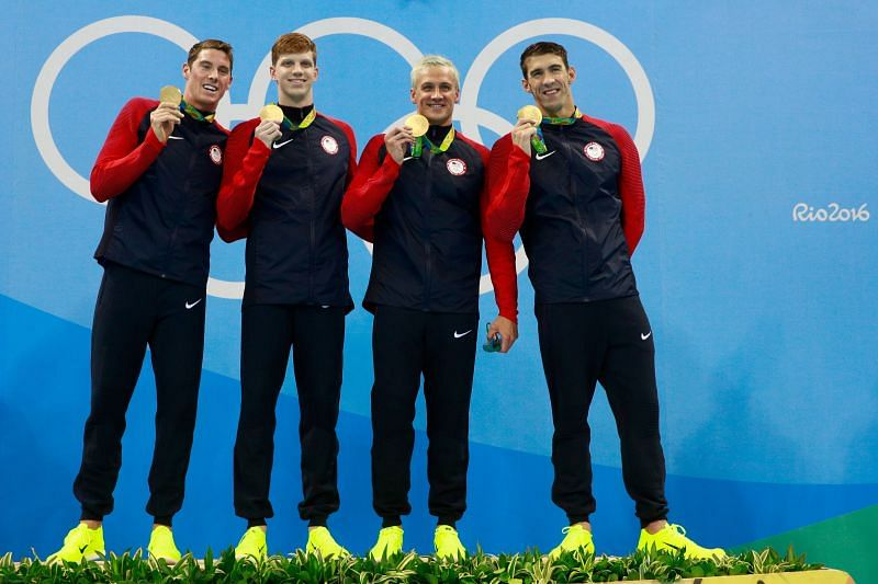 Gold medalist Townley Haas, Conor Dwyer, Ryan Lochte and Michael Phelps of the United States at the Rio 2016 Olympic Games