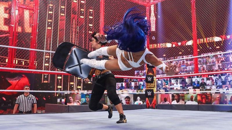 Bayley and Sasha Banks inside Hell in a Cell