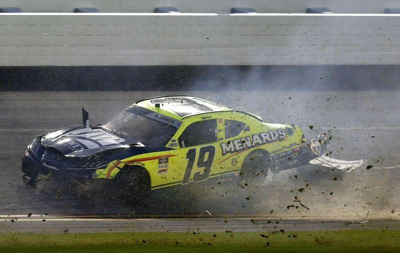 Brandon Jones crashes, bring out a Daytona red flag in the NASCAR Xfinity Series. Photo/Getty Images