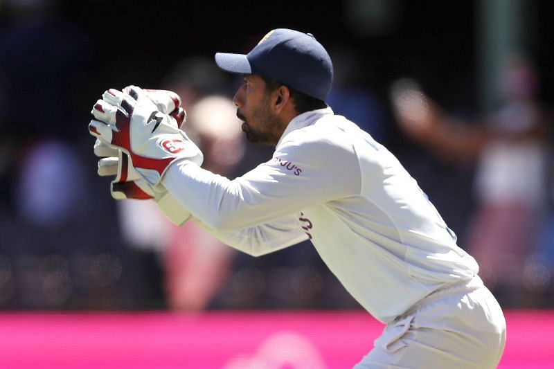 Wriddhiman Saha in action for the Indian Cricket Team