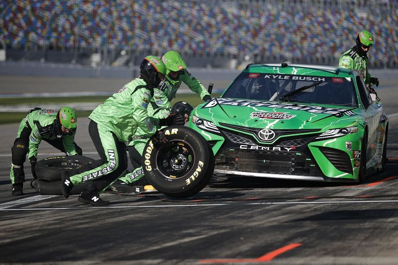 Kyle Busch pits during the NASCAR Cup Series O