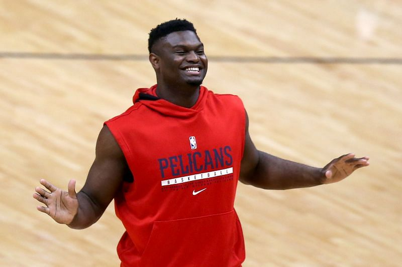 Zion Williamson #1 of the New Orleans Pelicans warms up prior to the start of an NBA game against the Memphis Grizzlies at Smoothie King Center on February 06, 2021 (Photo by Sean Gardner/Getty Images)