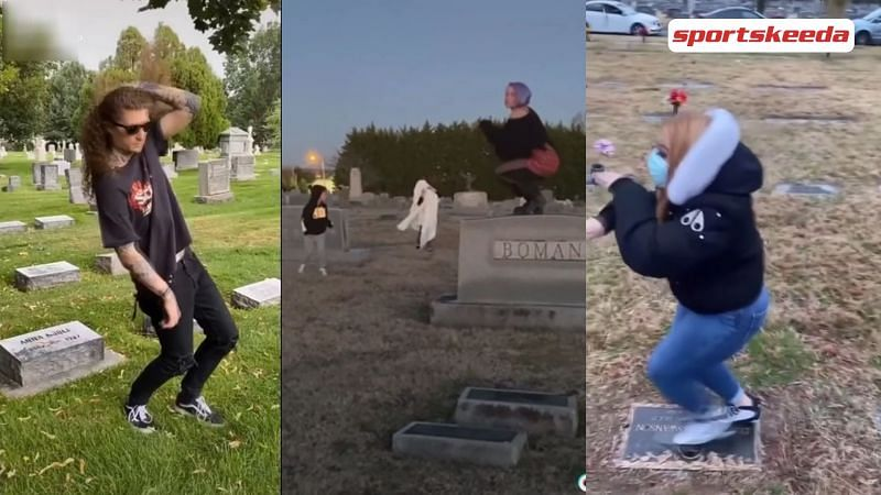 TikTokers dancing on graves for veiws (Image Via Sportskeeda)