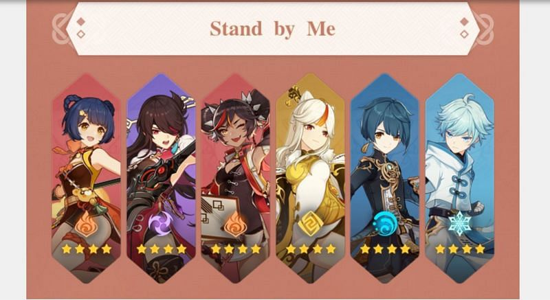 "6 redeemable characters in the ""Stand By Me"" event (Image via MihoYo)"