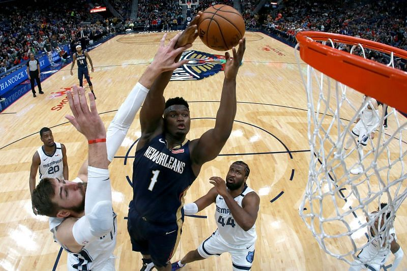 NBA DFS option Zion Williamson #1 of the New Orleans Pelicans