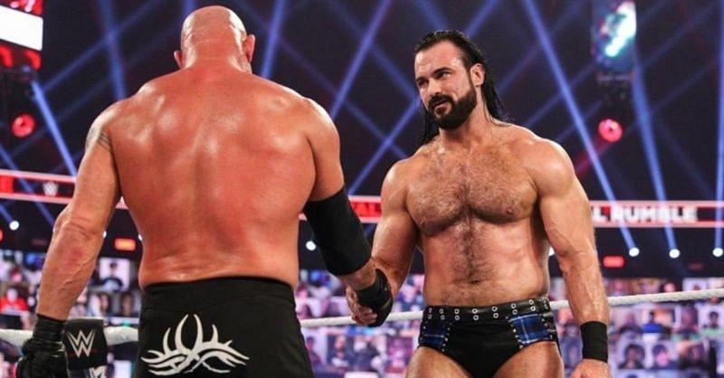 Goldberg and Drew McIntyre at WWE Royal Rumble