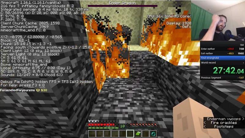 Forsen setting a new personal best for speedrunning Minecraft. (Image via forsen/Twitch.tv)