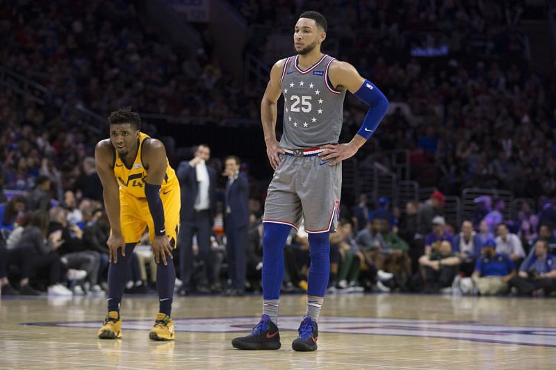 Donovan Mitchell of the Utah Jazz and Ben Simmons of the Philadelphia 76ers