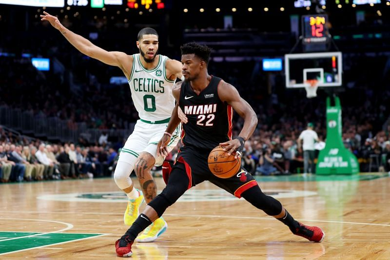 NBA DFS Option Jimmy Butler of the Miami Heat.