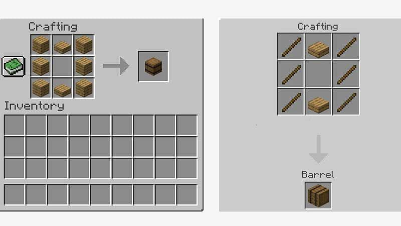 HOW TO CRAFT A BARREL IN MINECRAFT JAVA EDITION