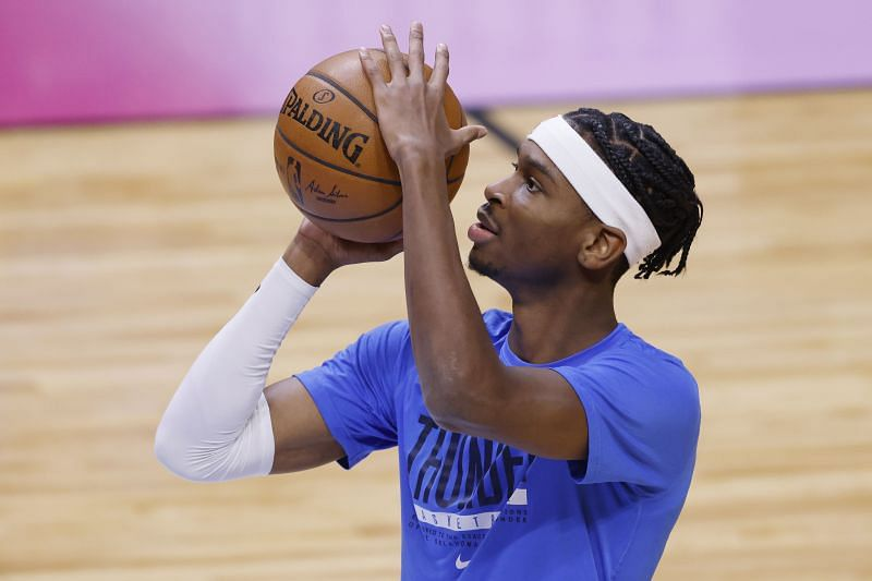 Shai Gilgeous-Alexander of the Oklahoma City Thunder warms up prior to the game against the Miami Heat