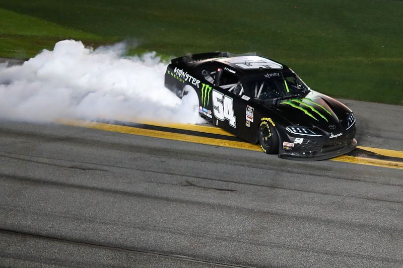 Ty Gibbs celebrates his victory in the Xfinity Series race at Daytona. Photo/Getty Images