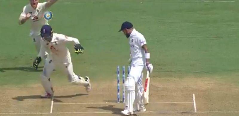 Virat Kohli stands stupefied after his dismissal. (Image source: BCCI/Twitter)