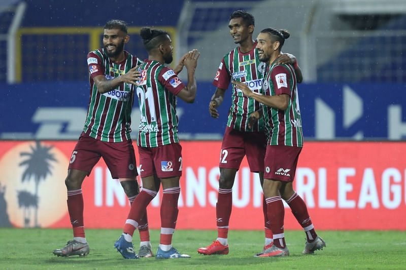 ATK Mohun Bagan players (from left to right) Subhasish Bose, Roy Krishna, Lenny Rodrigues, and David Williams celebrate after scoring a goal against SC East Bengal (Image Courtesy: ISL Media)