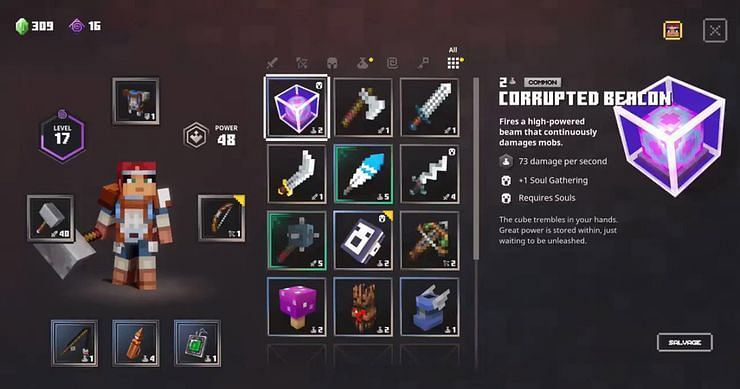 Shown: Corrupted Beacon Stats (Image via Minecraft Dungeons)