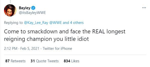 Bayley quickly replied to Kay Lee Ray