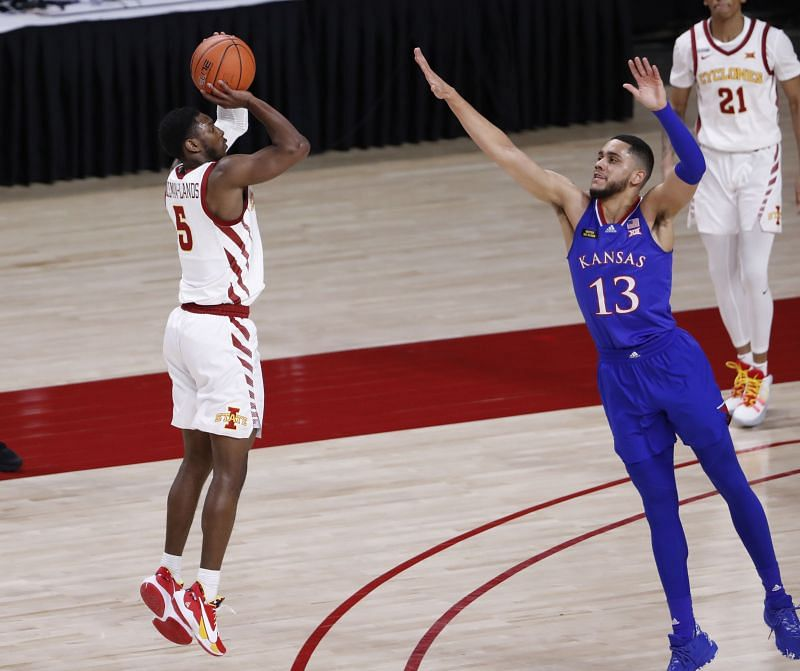 Jalen Coleman-Lands of the Iowa State Cyclones takes a three-point.