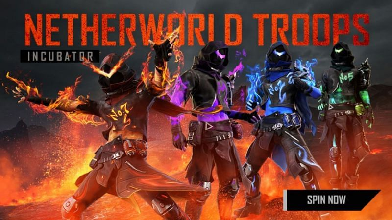 The Netherworld Troops Incubator in Free Fire commenced today, i.e., February 16 (Image via Free Fire)