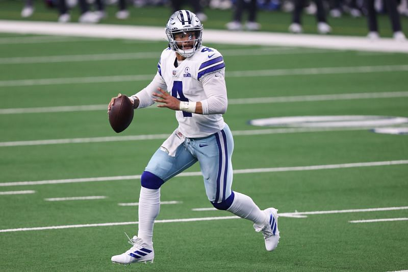 Dak Prescott of the Dallas Cowboys in 2020-21 NFL season action