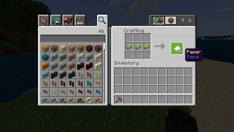 Crafting paper in Minecraft