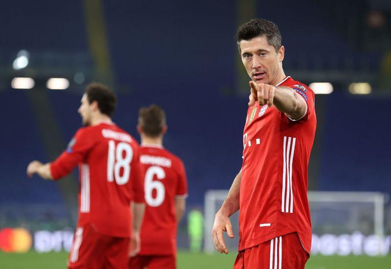 Robert Lewandowski celebrates after scoring