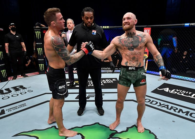 Conor McGregor after suffering leg injury at UFC 257